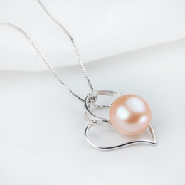 Wholesale Genuine 925 Silver Pendants - Genuine Freshwater Pearl Button Pendant Necklaces Luxurious Pearls Jewelry Inlay AAA Top Quality with 925 Silver Fitting