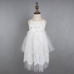 Wholesale Girls Party Dresses Europe - 2016 Summer New Girls WhiteLace Beading Flower Wedding dress Elegant Party Europe and America Dress Children Clothing GF015
