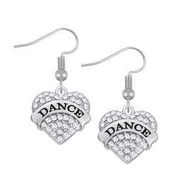 Wholesale Rhinestone Dance Earrings - Myshape Jewelry Engrave Letter DANCE Earrings & Bracelet & Pendant Necklaces &Pendant Charms Jewelry Rhodium Plated Crystal Jewelry