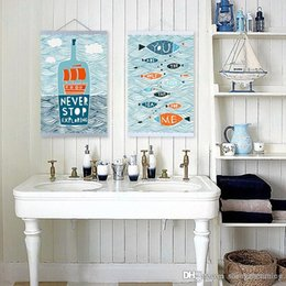 Wholesale Life Quotes Painting - Mild Art Drawing Messages Sea Bottle Fish Set Handpainted Blue Picture Ocean Cartoon Love Poster Prints Wall Quotes Custom Canvas Paintings