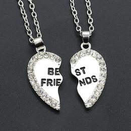 colares de amizade para mulheres Desconto Colar de pingente de Mulheres Homens Melhor Amigo Coração de Prata de Ouro 2 Pingentes Colar Bff Melhores Colares Cadeia Amizade