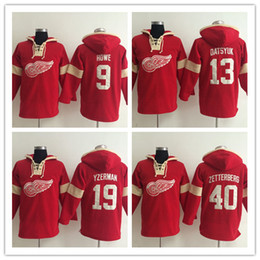 Wholesale Detroit Hoodie - Detroit Red Wings Hoodie Pavel Datsyuk 19 Steve Yzerman 40 Henrik Zetterber 9 Gordie Howe Old Time Hockey Jersey Hooded Sweatshirt stiched