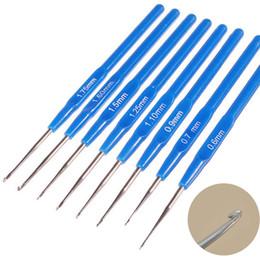 Argentina 8 UNIDS Por Set Ganchos de Ganchillo De Plástico Agujas de tejer Craft Costura Mixta Metálico Azul Mango Kit de Herramienta de costura Patchwork Suministro