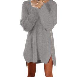 Mujeres holgadas sudaderas online-Otoño Invierno Pullover Mujeres Lateral Cremallera Chunky Punto Baggy Suéter Largo Vestidos Jumper Suéteres de Las Mujeres Vestido Pull Vestidos
