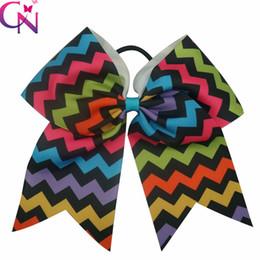 Wholesale Wholesale Chevron Print Ribbon - Wholesale 20 pcs lot Fancy 8 inch Chevron Printed Baby Girls Cheer Bow Multi-Color Grosgrain Ribbon Cheerleading Bows With Elastic Band