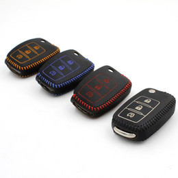 Wholesale Leather Case For Car Remote - For dongfeng Fxauto 2010 2014 car key case keychain Fxauto 2012 remote key cover Genuine Leather