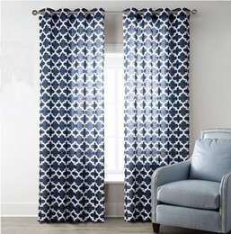 Wholesale Grommet Drapes Curtains - 2 Panels Set Sheer Window Curtains Polyester Linen Drape Diamond Chain Print Blackout Sheer Curtains Fashion Luxury Look Hot Sale