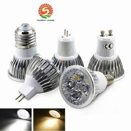 Wholesale 4x3w Led Bulb - High power CREE GU10 E27 GU5.3 E14 4x3W 12W 85-265V Dimmable Light lamp Bulb LED Downlight Led Bulb Warm Pure Cool White