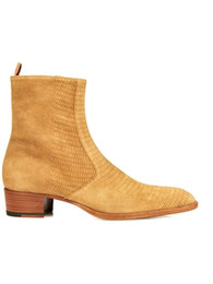 Wholesale Euro Hook - European Style Men Brand Boots Golden Pointed Toe Buckle Slip On Fashion Boots Embossed Leather Short Boots Men Euro Size 37-46