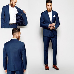 Wholesale Two Button Jacket - Custom Made Groom Tuxedos Groomsmen Dark Blue Vent Slim Suits Fit Best Man Suit Wedding Men's Suits Bridegroom Groom Wear (Jacket+Pants)