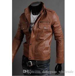 Wholesale Mens Small Leather Jackets - Fashion Nice Men Brand Motorcycle PU Leather Jackets Winter Mens Fur Coat Biker Jacket .Men€s Leather Jacket