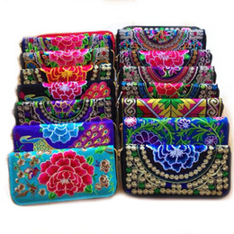 Wholesale Old Cell - DHL FREE Old Shanghai Style Women Cotton Purse Embroidered Wallet Coin Purse Long Wallet Clutch Bag Cell Phone Bag Key Wallet