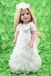 Wholesale Wedding Flower Girl Doll - 18 inch Full Vinyl Girl Dolls Girls Holiday Gift Toys Alike American Girl Doll in White 3D Flower Wedding Dress