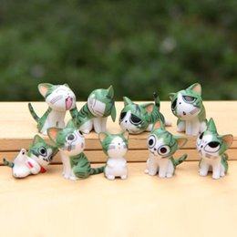 Wholesale 9pcs Cute Cat Figurines Fairy Garden Miniatures Bonsai pvc Dollhouse Toys action figure Decor Jardim Gnomes Home Accessories