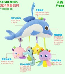 Wholesale plush toys dolphin - New Infant cut cartoon dolphin Plush Toys For Baby Crib & Stroller Playing Toy Car Lathe Hanging Baby rattles