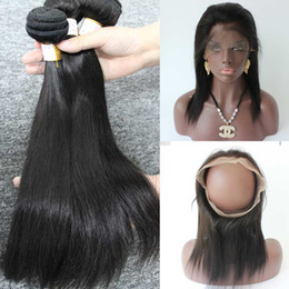 Wholesale Cheap Skin Machine - Straight Brazilian human hair Bundles weaves closure 360 lace frontal with bundles cheap hair extensions Bleached Knot Baby Hair
