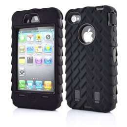 Wholesale Hybrid Case Iphone4 - Tire Grain Robot Case Shockproof Rugged Hybrid Phone Case Cover & Screen Protection IPhone4 4s 5 5s 5c 6 6s 6sPlus