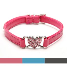 Wholesale Jeweled Leather Dog Collar Pink - Heart charm Pu Leather Rhinestones cat Dog collar with Heart Charm Adjustable necklace pink Black Blue  XS S M Free shipping