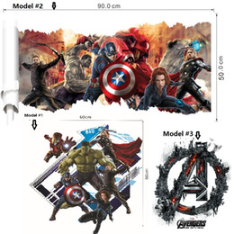 Wholesale Print Decals - 2016 Newest 3D printed The Avengers wall decor Kid's room stickers Halloween Christmas decoration Eco-friendly PVC decals American Superhero