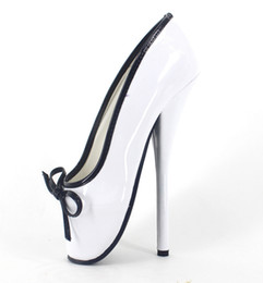 """Wholesale high heeled ballet shoes - Wonderheel Hot Extreme high heel appr.18cm 7"""" Stiletto Heel sexy fetish ankle ballet boots white patent slip on ballet shoes"""