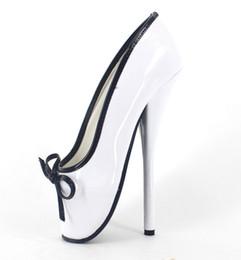 """Feticcio del pattino di brevetto online-Wonderheel Hot Extreme tacco alto appr.18cm / 7 """"Tacco a spillo sexy balletto alla caviglia fetish stivali bianco scivolare su pattini di balletto"""