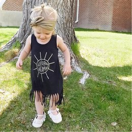 Wholesale Kids Sun Dresses - Wholesale Girls Dresses Summer 2017 Fashion Tassel Toddler Girl Dress Sun Letter Cafilornia Dreaming Kids Dresses For Baby Clothes Outfits