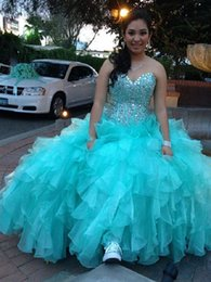 Wholesale turquoise organza prom dress - 2016 New Cheap Turquoise Sweet 16 Quinceanera Dresses Sweeetheart Crystal Beaded Long Ball Gown Tiered Ruffles vestido de 15 anos Prom Gowns