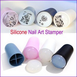 Wholesale templates for nail art - 2016 New Design Nail Art Stamp 4 Color Silicone Soft Nail Art Templates for DIY New Year Christmas Gift 1 Stamper + 1 Scraper