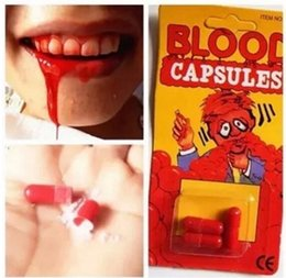 Wholesale Party Box Halloween Costumes - costume fake blood pill capsules horror fun halloween gag joke party set 3pcs set 2016 new