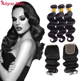 Wholesale Silk Base Hair Closures - Silk Base Closure with 3 Bundle Body Wave Peruvian Indian Malaysian Brazilian Hair Bundles Unprocessed Remy Body Wave Virgin Hair Extensions