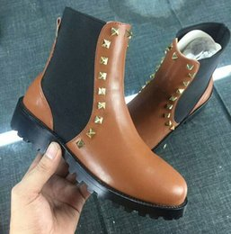 Wholesale Low Ankle Combat Boots Women - Real leather Combat Derset Boots Feminino High Platform Women Boot 2018 Fall