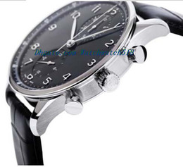 Часы португальские онлайн-Роскошные часы кожаный браслет новый португальский хронограф автоматический черный циферблат 40,9 мм часы 371447 человек часы Наручные часы