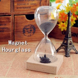 Wholesale Magnetic Timers - Bestselling Magnet Hourglass Hand-blown Sand Timer Desktop Decoration Magnetic Hourglass Black Home Décor Creative Gifts wa4107