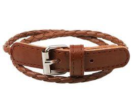 Wholesale Prong Belt - weave leather bracelet wristband fashion women men multi layers rope buckle belt bracelets charm jewelry girl boy party Christmas gift