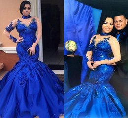 Wholesale Evening Gowns Mesh - Saudi Arabia Royal Blue Prom Dresses High Neck Nude Mesh Long Sleeves Lace Appliques Evening Gowns Plus Size Satin Mermaid Formal Wear