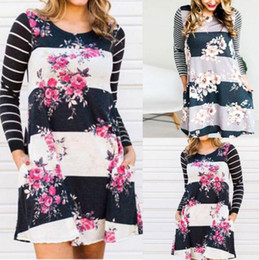 Wholesale Loose Shirts For Women Black - Summer Dress for Women Casual long Sleeve Loose T-shirt With Floral Printed Knee Length A-line Dress