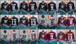 Wholesale M Ducks - Anaheim Ducks #8 Teemu Selanne 9 Paul Kariya 13 Teemu Selanne 96 Charlie Conway Blank White Purple Black Red CCM Hockey Jersey Stitched