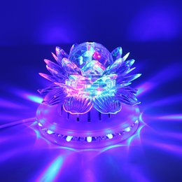 Wholesale Stage Light Lamps - Lotus Effect Light Auto Rotating 11W LED RGB Crystal Stage Light 51pcs Bead Lamp for Home Decoration DJ Disco Bar Best Gift