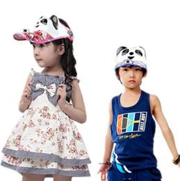 Wholesale Solar Energy Hat - The new han edition cartoon panda solar energy fan hat Empty sunshade children's hat