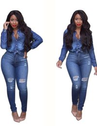 Wholesale Denim Long Sleeve Jumpsuit - Wholesale- Jeans Longo Rompers Sexy Women Long Sleeve High Waist Ripped Denim Buttom Bodysuit Autumn Blue Pockets 2 Piece Jeans Jumpsuit