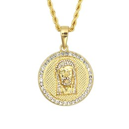 Wholesale Jesus Gold Chain Necklace - Men's Jesus Face Pendant Hip-hop with FREE Rope Chain 24