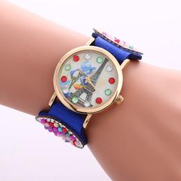 Wholesale Watch Eiffel Tower Design - Wholesales Eiffel Tower Design Braided Rope Watch Fashion Ladies Dress Casual Watch Wholesale Price Quartz Wristwatch For Ladies 9 Colors
