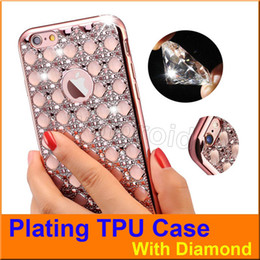 Wholesale Cheap Case Iphone Diamond - Plating Electroplating Soft TPU Mobile phone Back Cover case Shockproof with Diamond For Apple iPhone 6 6s Plus S7 Edge colors Cheap 50pcs