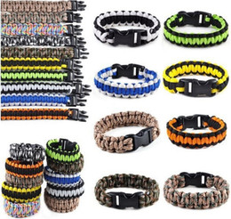 Wholesale Paracord Military Cord - Fashion 550 Survival Paracord Bracelets Kit black plastic buckle Military Emergency camping Hiking Men Self-rescue Parachute Cords 10 Colors