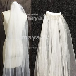 Wholesale Chapel Length Soft Tulle Veil - One Tier Full Length Bridal Veil With Comb Cut Tulle Edge Soft Tulle Bridal Veils Bridal Headpiece Hair Accessories Sheer Wedding Veils