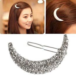 Wholesale Indian Bang Wholesale - 1Pc Nice Moon Rhinestone Hair Clip Bang Clip Headdress Hairpin Clamps C00153