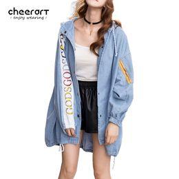 Wholesale Hoodie Denim Trench - Cheerart 2017 Denim Trench Coat Hooded Women Windbreaker Letter Print Loose Blue Jeans Overcoat Hoodie Autumn Winter