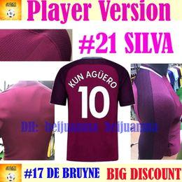 Wholesale Man City Away - 2018 Player Version CITY away purple soccer Jersey 17 18 G.Jesus DZEKO KUN AGUERO KOMPANY TOURE YAYA DE BRUYNE soccer shirt football Shirts