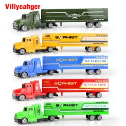 Wholesale Model Bus Toys - 5 color Diecast Alloy and Plastic Truck Toy Model Car Container Green Truck Children's Educational Toys Chirstmas Birthday Gift