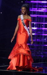 Robes de soirée made usa en Ligne-Custom Made MISS TEEN USA 2019 Pageant Robes De Bal Sirène Rouge Satin Tierd Jupes Robe De Célébrité À Volants Robes De Soirée Formelles
